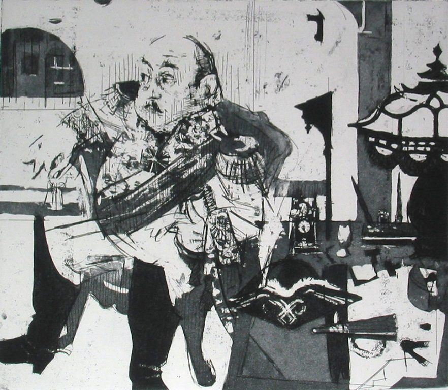 """Photo of Jack Levine's etching """"The General."""" Artwork depicts a fat general Franco sitting."""