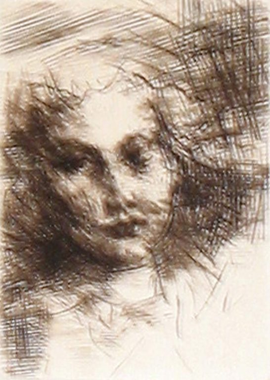 """Photo of Jack Levine's engraving """"Head of a Young Girl."""" Artwork depicts the shoulders and torso of a young girl."""