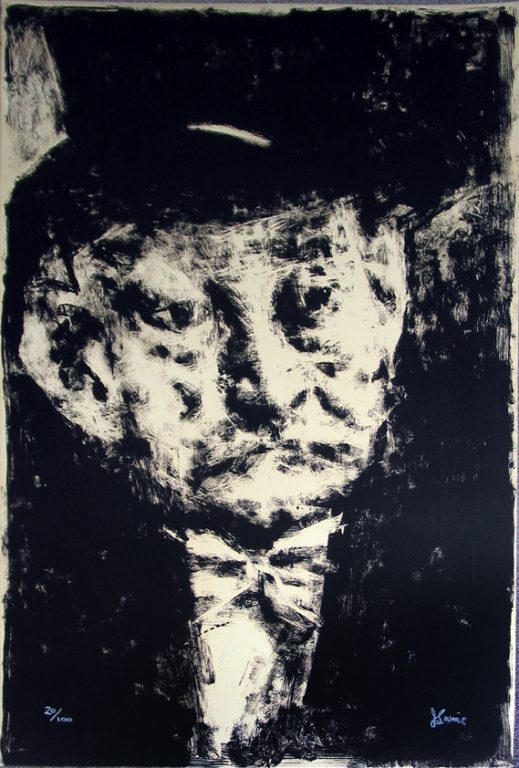 """Photo of Jack Levine's lithograph """"Thought."""" Artwork depicts the head and shoulders of a gentleman wearing a top hat with a coat and bow tie."""