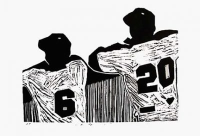 """Photo of Linda Masotti's linocut """"Waiting."""" Artwork depicts two baseball players looking over a fence."""