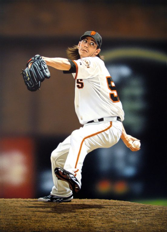 """Photo of Arthur K. Miller's painting """"Lincecum Windup."""" Artwork depicts photorealistic Giant's player Tim Lincecum with foot up, arm back about to pitch the ball."""