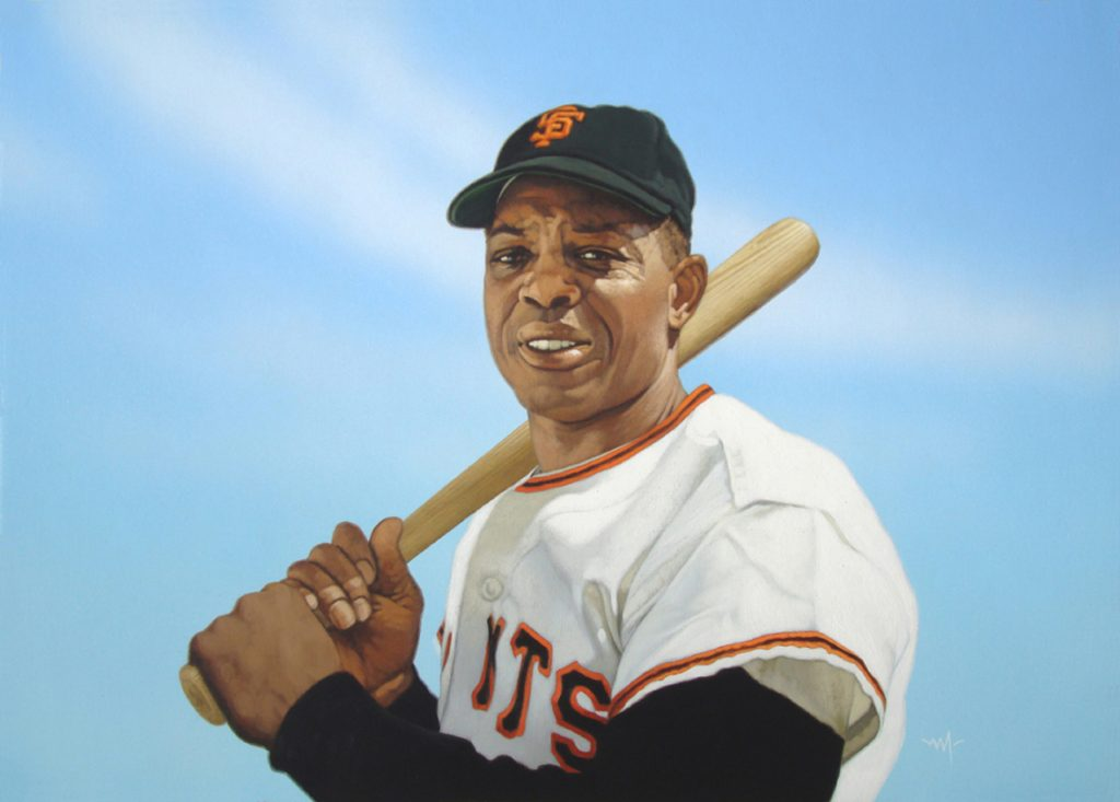 """Photo of Arthur K. Miller's painting """"Willie Mays, 1965."""" Artwork depicts a photorealistic Giant's player Willie Mays posed with bat over the shoulder. Blue background."""