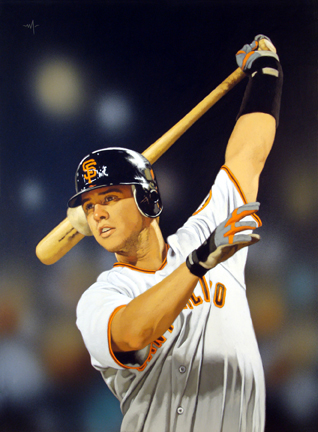 """Photo of Arthur K. Miller's painting """"Buster Posey on Deck."""" Artwork depicts baseball player Buster Posey swinging the bat up and behind his head."""