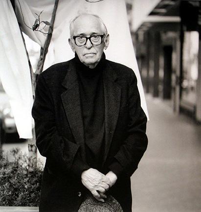 "Photo of Richard Nagler's photograph ""Jack Levine, August 1998."" Artwork depicts a black and white image of Jack Levine."