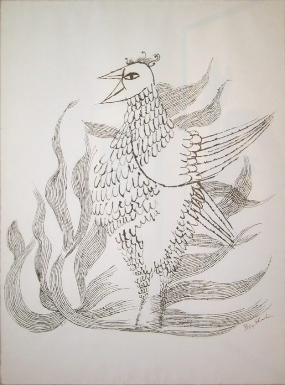 "Photo of Ben Shahn's serigraph ""Phoenix."" Artwork depicts a black on white drawing of a bird with flames."