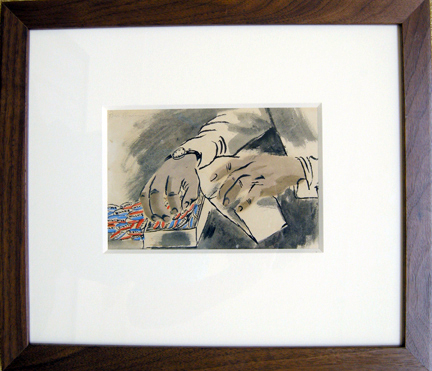 "Photo of Ben Shan watercolor ""Wendell Wilkie Campaign."" Artwork depicts hands taking campaign buttons out of a box to put in an envelope."
