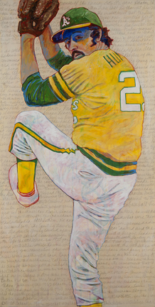 """Photo of Toby Tover's painting """"Catfish Hunter."""" Artwork depicts Oakland A's pitcher Catfish Hunter winding up for a pitch."""