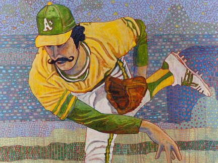 """Photo of Toby Tover's painting """"Rollie Fingers."""" Artwork depicts Oakland A's pitcher Rollie Fingers just after releasing the pitch."""