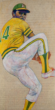 """Photo of Toby Tover's painting """"Vida Blue."""" Artwork depicts Oakland A's pitcher Vida Blue in a windup for a pitch."""
