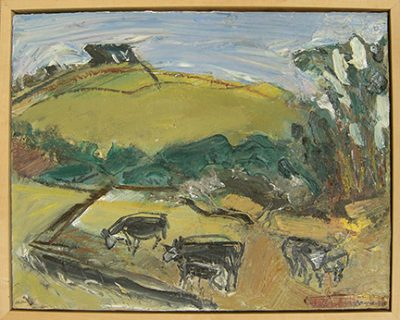 """Photograph of William Wheeler's painting """"Cows."""" Artwork depicts cows grazing among green hills."""