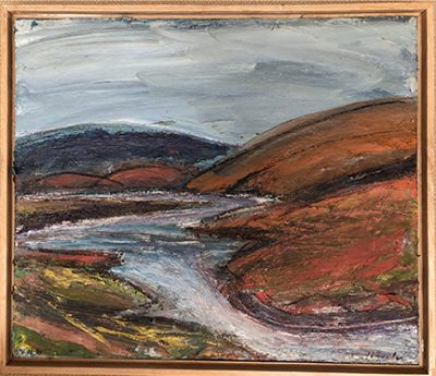 "Photograph of William Wheeler's painting ""Estero Americano to the North from Sonoma Land Trust #2."" Artwork depicts water running through brownish hills."