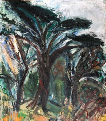 "Photo of William Wheeler's painting ""Golden Gate Park, 4/99."" Artwork depicts brown and green trees."
