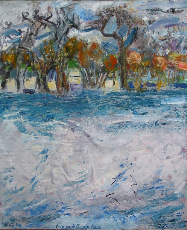 """Photo of William Wheeler's painting """"Laguna de Santa Rosa."""" Artwork depicts blue and white water foreground with brown and reddish trees in the background."""