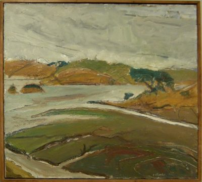 """Photo of William Wheeler's painting """"Tomales Bay."""" Artwork depicts an overcast bay showing the intersection(s) of water and land along the inlet."""