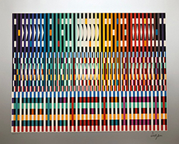 "Photo of Yaacov Agam's serigraph ""Thanksgiving."" Artwork depicts abstract almost woven looking strips of bright colors."