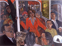 "Photo of Nancy Calef's painting with mixed media ""Art & Reality."" Artwork depicts a woman in a red blazer standing on a crowded bus."
