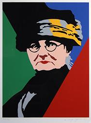 "Photo of Rupert Garcia's primary color silkscreen ""Mother Jones."" Artwork depicts organizer and activist Mary G. Harris Jones, known as Mother Jones."