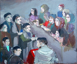 "Photo of Ruth Gikow's painting ""Bar Mitzvah."" Artwork depicts jewish congregants during a Bar Mitzvah, the males are to the left and the females to the right."