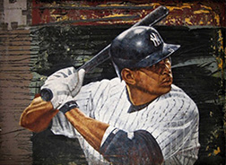 "Photo of Eric Grbich's painting ""A Rod."" Artwork depicts Alex Rodriguez, A Rod, from the arms up, in batting position, waiting to swing."