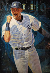 "Photo of Eric Grbich's painting ""Captain Jeter."" Artwork depicts NY Yankee, Derek Jeter, in uniform, from the knees up with one arm bent at the elbow fist up in celebration."
