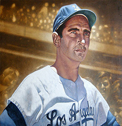 "Photo of Erc Grbich's painting ""Koufax."" Artwork depicts Sandy Koufax, in his LA uniform, in color from the chest up. Behind him in sepia tones are the baseball stands full of fans."