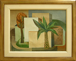 "Photo of John Haley's painting ""Untitled (Buildings with Palm Tree)."" Artwork depicts rectangular buildings and 2 trees, with a palm tree up front."