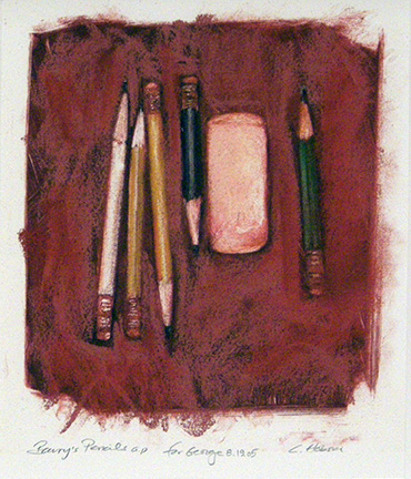 """Photo of Charles Hobson's monotype """"Barry's Pencils."""" Artwork depicts five pencils and an eraser."""