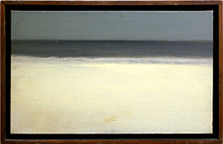 "Photo of Walter Kuhlman's painting ""Untitled (Horizon)."" Artwork depicts a spare beach horizon with stormy sea and sky."
