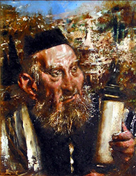 "Photo of Jack Levine's painting ""In the Valley of Kidron."" Artwork depicts a Rabbi holding Torah scrolls."
