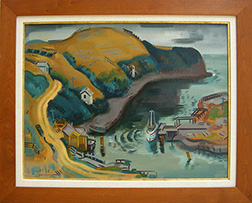 "Photo of Erle Loran's painting ""Harbor Scene."" Artwork depicts a harbor with a docked boat, a road, some buildings and rolling golden hills."