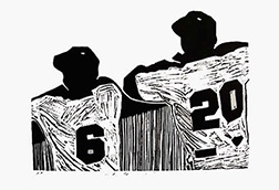 "Photo of Linda Masotti's linocut ""Waiting."" Artwork depicts two baseball players looking over a fence."