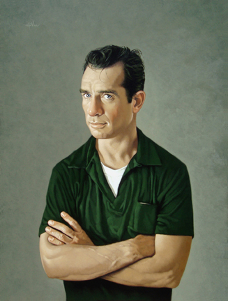"""Photo of Arthur K. Miller's painting """"Jack Kerouac, 1956."""" Artwork depicts Jack Kerouac from the waist up with his arms crossed, wearing a green shirt."""