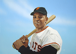 "Photo of Arthur K. Miller's painting ""Willie Mays, 1965."" Artwork depicts a photorealistic Giant's player Willie Mays posed with bat over the shoulder. Blue background."