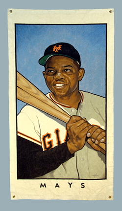 """Photo of Arthur K. Miller's mixed media banner """"Mays - Banner."""" Artwork depicts Willie Mays with a bat over his shoulder."""