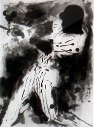 "A photo of Leroy Neiman's etching ""Home Run Blast."" Artwork depicts a baseball player swinging the bat, black and white."