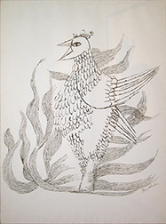 "Photo of Ben Shahn's serigraph ""Phoenix."" Artwork depicts black on white drawing of a bird with flames."