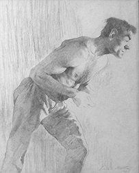 "Photo of the Joseph Stella drawing ""Stoker."" Artwork depicts a shirtless man bent over and working hard."