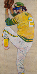 "Photo of Toby Tover's painting ""Catfish Hunter."" Artwork depicts Oakland A's pitcher Catfish Hunter winding up for a pitch."