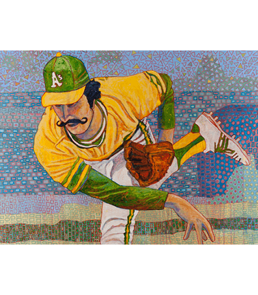 """Photo of Toby Tover's painting """"Rollie Fingers."""" Artwork depicts Oakland A's pitcher Rollie Fingers just after releasing a pitch."""