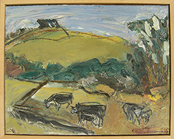 "Photograph of William Wheeler's painting ""Cows."" Artwork depicts cows grazing among green hills."