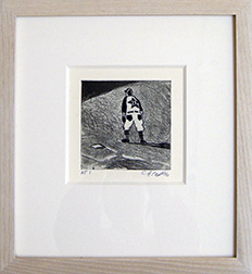 "Photo of Curtis Wight's etching ""Twink's First Sacker."" Artwork depicts a baseball player standing to the side of a base."