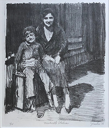 "Photo of Jerome Carlin's lithograph ""Nashville Station."" Image depicts a woman and a child sitting on a suitcase."