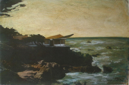 "Photo of Stacey Carter's painting ""Carmel House."" Image depicts a modern style house on a rocky outcrop above the ocean."