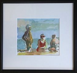 "Photo of Lisa Esherick's painting ""Beach Scene."" Image depicts three people on a beach, a man kneeling and two women sitting. The woman in the middle is wearing a red bathing suit.."