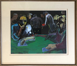 "Photo of Lisa Esherick's painting ""Blackjack Gambler."" Image depicts a man at a green balckjack table looking thoughtfully at his cards with his hand on his chin. Other figures in the background and to the right."