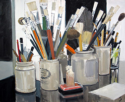 "Photo of Glenna Putt's painting ""Paint Brushes."" Image depicts a number of jars filled with a variety of paint brushes."
