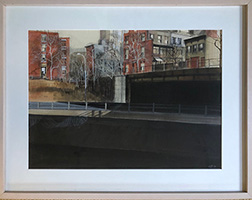 "Photo of Glenna Putt's painting ""Underpass."" Image depicts a dark underpass with another road and buildings up above."