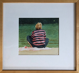"Photo of Mary Robertson's painting ""Figure in Striped Shirt."" Image depicts the back of a person sitting on a beach in front of water, shirt is red and black striped, pants are black."