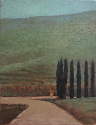 "Photo of Mary Robertson's painting ""Near Porter Creek #2."" Image depicts a dirt road running up to a green hillside and curving around or intersecting another road by a line of trees."