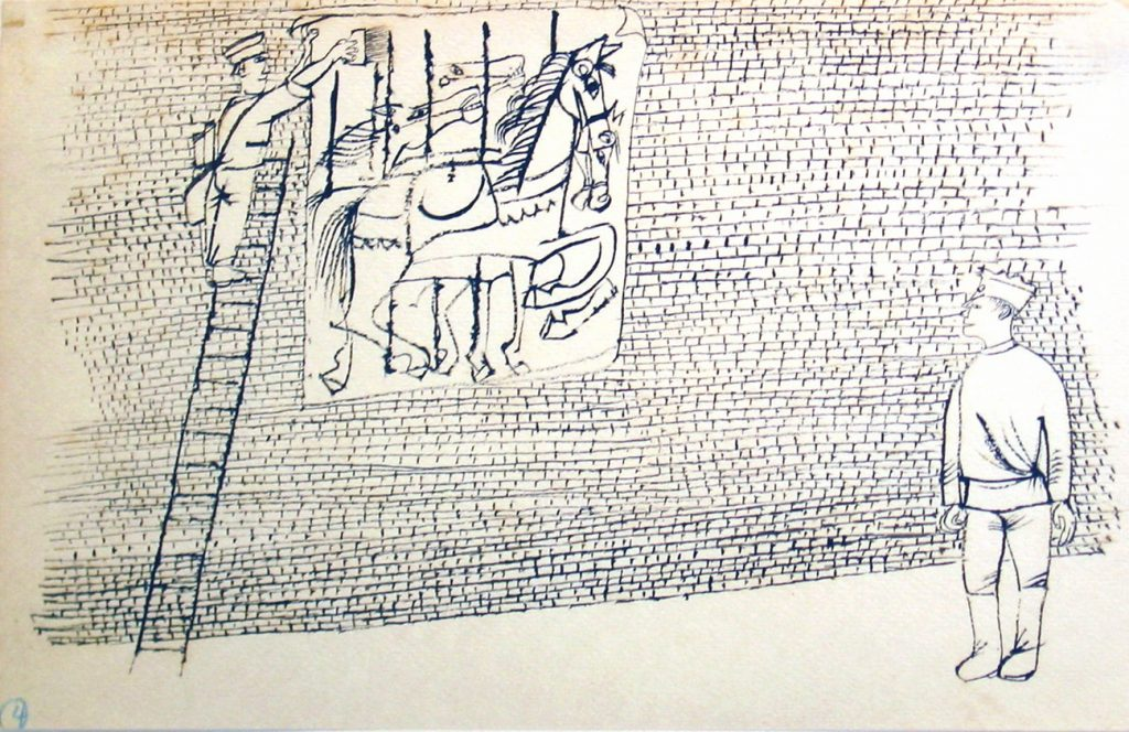 "Photo of Ben Shahn's drawing ""Man Pasting Carousel Poster to Brick Wall."" Image depicts one man watching another up a ladder pasting a poster. The wall is made of bricks and the poster has carousel horses on it."